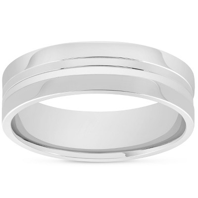 Pompeii3 Mens 10k White Gold 6mm Band High Polished Concave Groove Accent Wedding Ring
