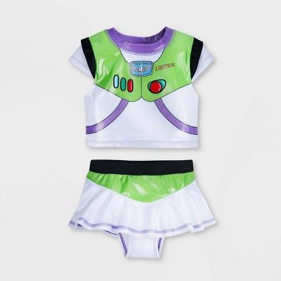 Girls' Disney Toy Story Buzz Lightyear 2pc Midkini Set - White/Green - Disney Store
