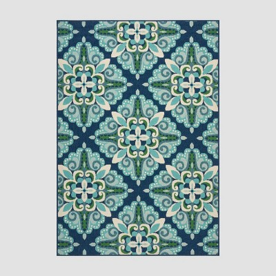 5' x 8' Kaia Medallion Outdoor Rug Blue/Green - Christopher Knight Home