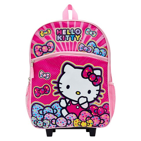 Hello Kitty Bows Rolling Carry On Backpack - White(16