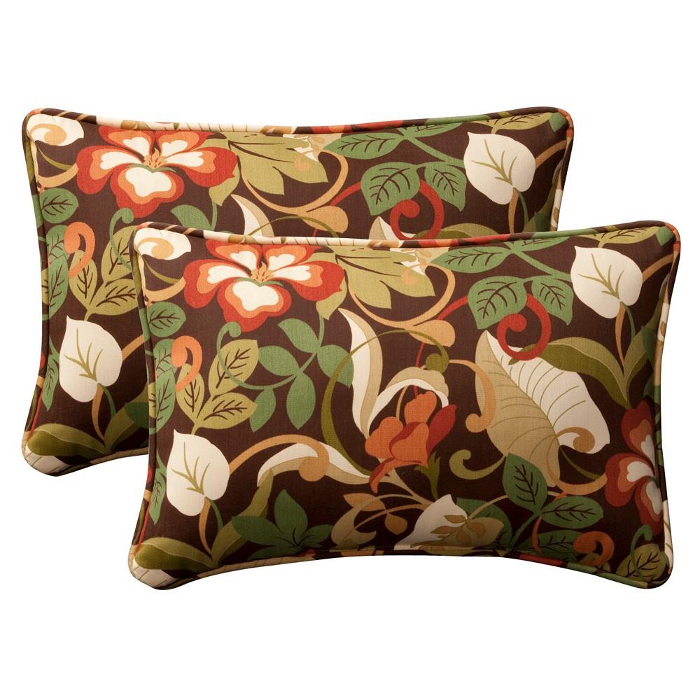 2 Piece Outdoor Toss Pillow Set Brown Green Floral 24