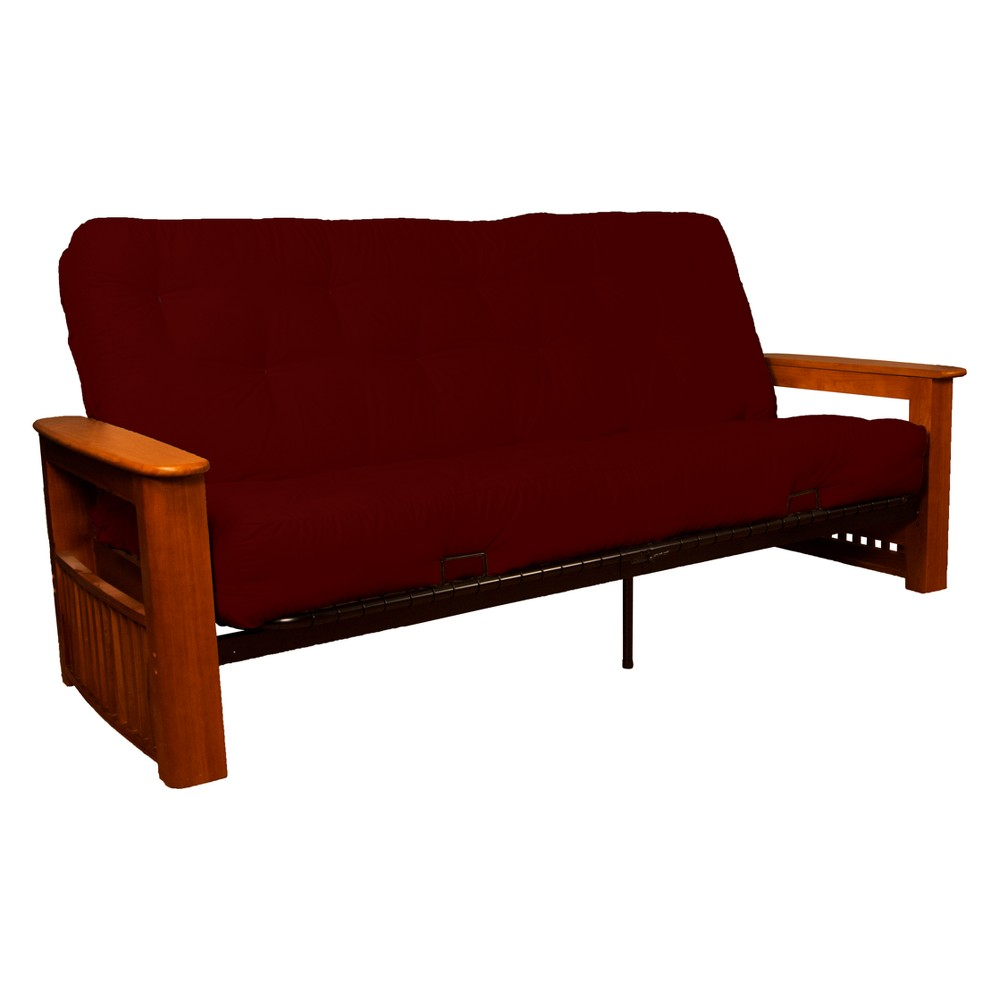 Flip Top Arm 8 Cotton/Foam Futon Sofa Sleeper Walnut Wood Finish Crimson (Red) - Epic Furnishings