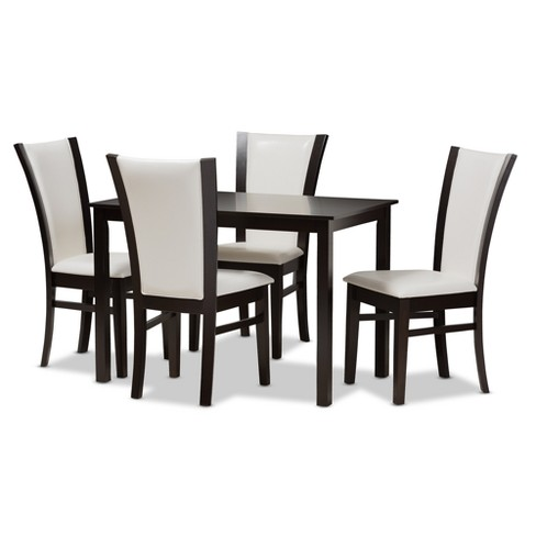 Adley Modern And Contemporary 5pc Finished Faux Leather Dining Set White, Dark Brown - Baxton Studio - image 1 of 7
