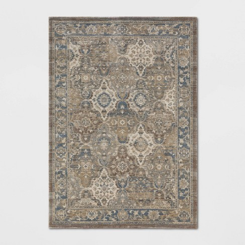 Distressed Persian Rug Taupe Brown - Threshold™ - image 1 of 3
