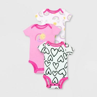 Lamaze Baby Girls' 3pk Organic Cotton Short Sleeve Bodysuit - Pink 3M