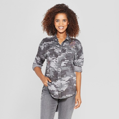 7b43f6f23 Women's Camo Print Long Sleeve Embroidered Button-Down Shirt - Knox Rose™  Gray