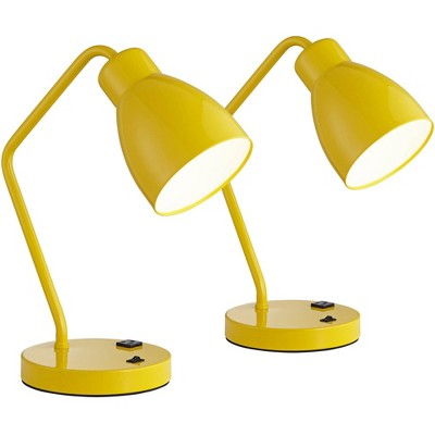 360 Lighting Mid Century Accent Table Lamps Set of 2 with Built In 3-Prong Outlets Yellow Metal for Bedroom House Bedside Reading