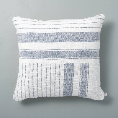 "18"" x 18"" Patch Stripes Woven Throw Pillow Faded Blue - Hearth & Hand™ with Magnolia"