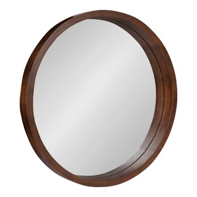 "22"" x 22"" Hutton Round Wood Wall Mirror Walnut Brown - Kate and Laurel"