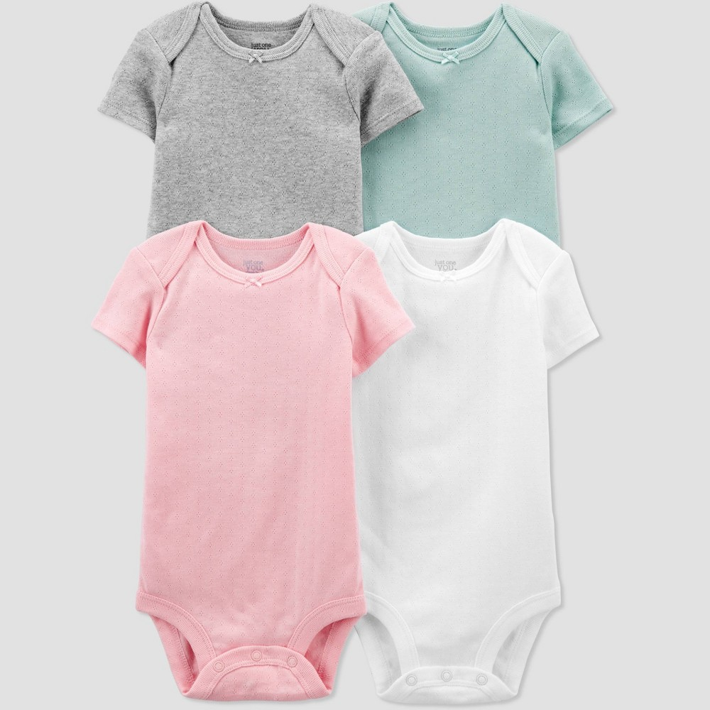 Baby Girls 39 4pk Solid Bodysuit Just One You 174 Made By Carter 39 S Pink 9m