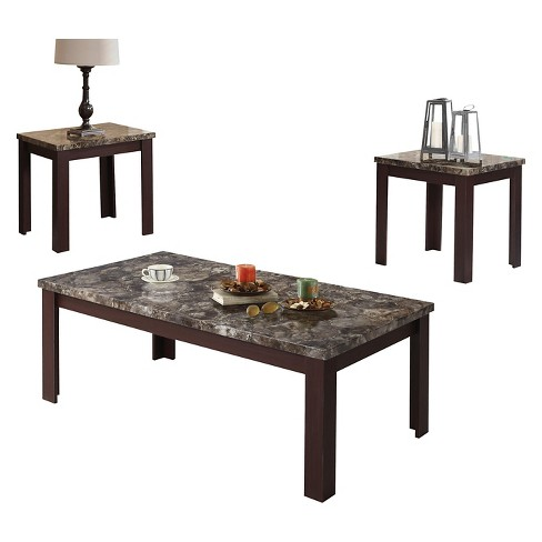3 Piece Carly Pack Coffee End Table Set Faux Marble And Cherry Acme