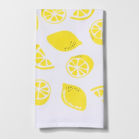 Citrus Pear Lemon Kitchen Towel White/Yellow - Project 62™ - image 1 of 1