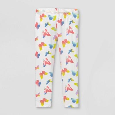 Toddler Girls' Butterfly Tie-Dye Leggings - Cat & Jack™ White