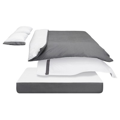 The Casper Duvet Cover - Full/Queen White/Gray