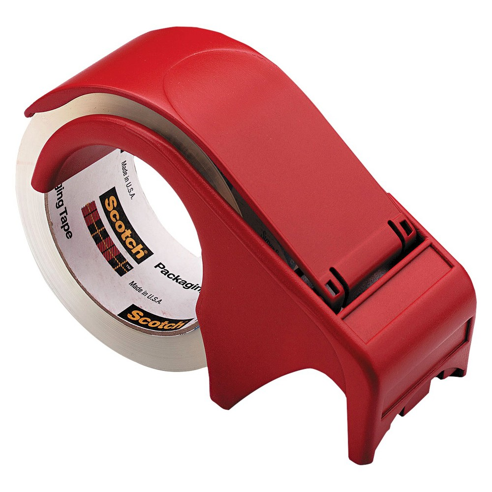 Scotch 3 Core, Compact and Quick Loading Plastic Dispenser for Box Sealing Tape - Red