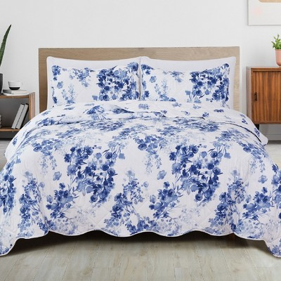 Great Bay Home Jacqueline Watercolor Floral Printed Quilt Set