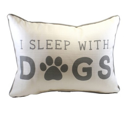 """Home Decor 14.0"""" I Sleep With Dogs Pillow Paw Print  -  Decorative Pillow"""