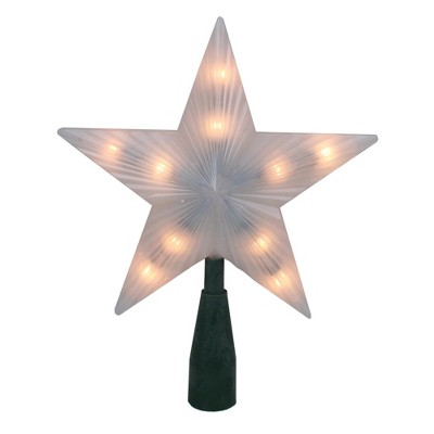 "Northlight 7"" Pre-Lit White Frosted 5-Point Star Christmas Tree Topper - Clear Lights"