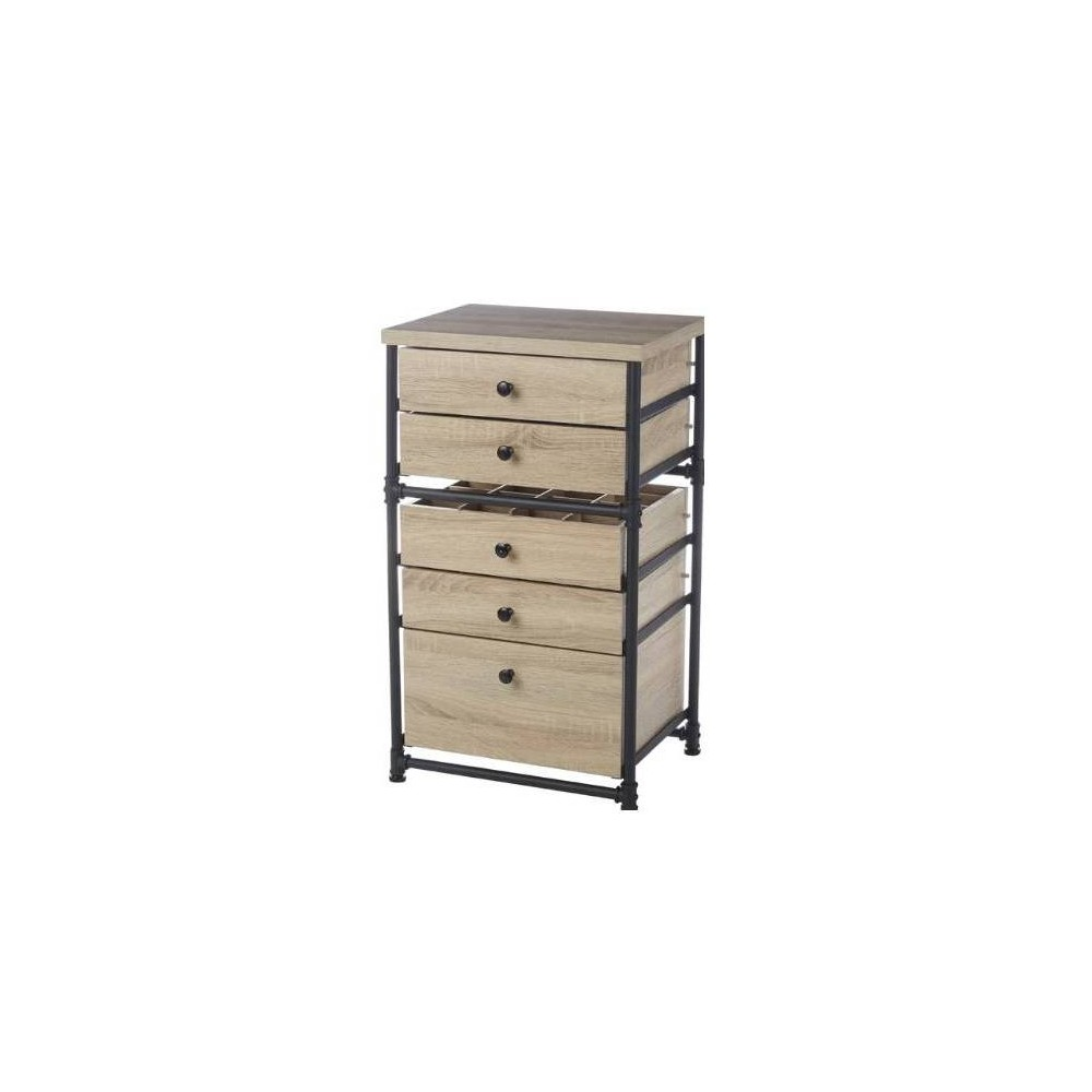5 Drawer Set Industrial Pipe Storage Cabinet Antique Wood - Neu Home