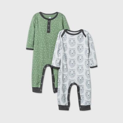 Baby Boys' 2pk Little Cub Romper - Cloud Island™ Olive Green 0-3M