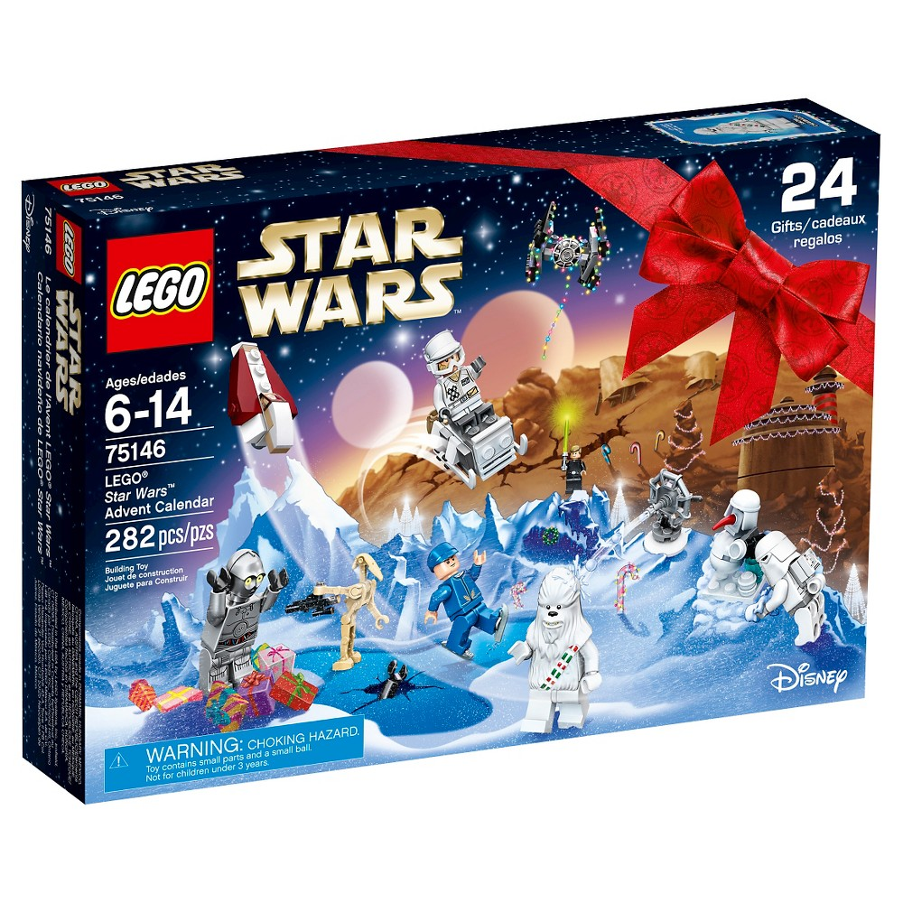 Lego Star Wars Advent Calendar 75146 Lego Star Wars Advent Calendar 75146: Feel the Force this holiday season with the Lego Star Wars Advent Calendar, with 24 gifts including minifigures, starships, vehicles and other themed collectibles. Take a festive tour of the galaxy with the Lego Star Wars Advent Calendar. Open up a door each December day to reveal a Star Wars themed minifigure, starship, vehicle or other themed collectible. Once you've collected all 24 gifts, unfold the playmat and create your own epic Hoth, Tatooine, Naboo and space-based adventures. This is the perfect holiday gift for any life form. Includes 8 minifigures plus a Battle Droid. Gender: Male.