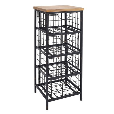 Metal And Wood Drawer Unit Brown   Linon by Linon