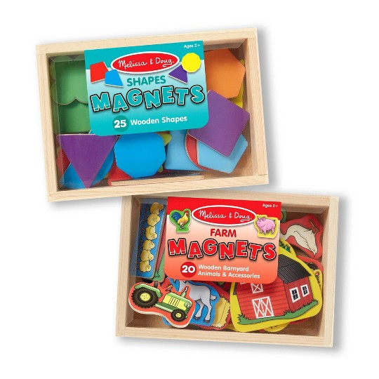 Melissa & Doug Wooden Magnets Set - Shapes and Farm (45pc) image number null