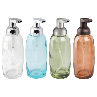 mDesign Glass Refillable Foaming Soap Dispenser Pump, 4 Pack - Assorted Colors