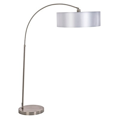 Yosemite 1-Light Arc Floor Lamp - Satin Steel with Pristine White Shade
