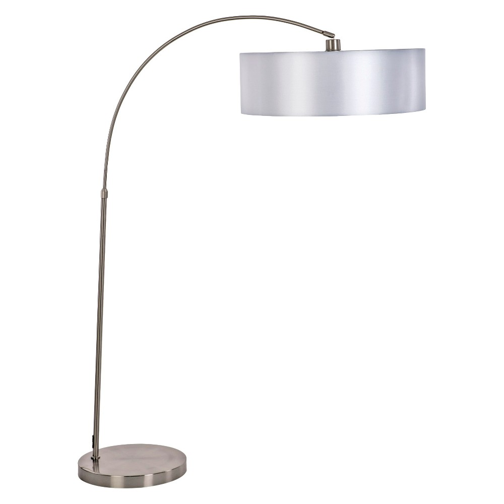 Image of Yosemite 1-Light Arc Floor Lamp - Satin Steel with Pristine White Shade