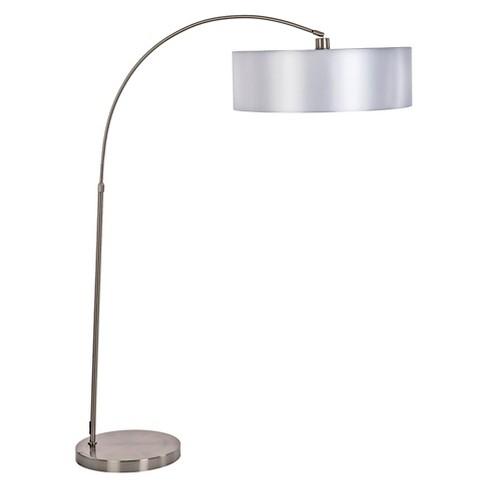 Yosemite 1-Light Arc Floor Lamp  - Satin Steel with Pristine White Shade - image 1 of 4