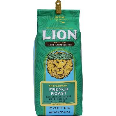 Lion Coffee French Roast Antioxidant Rich Dark Roast Ground Coffee - 8oz