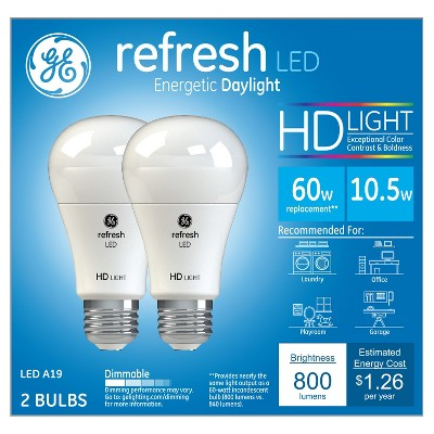 General Electric 60w 2pk Refresh Daylight Hd Equivalent A19 LED