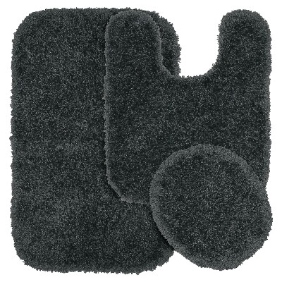 Garland 3 Piece Serendipity Shaggy Washable Nylon Bath Rug Set - Dark Gray