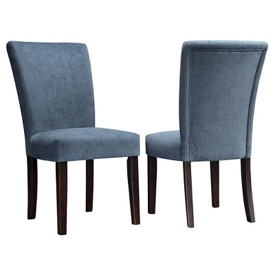 Set of 2 Amity Parson Dining Chair Wood Royal Chenille - Inspire Q