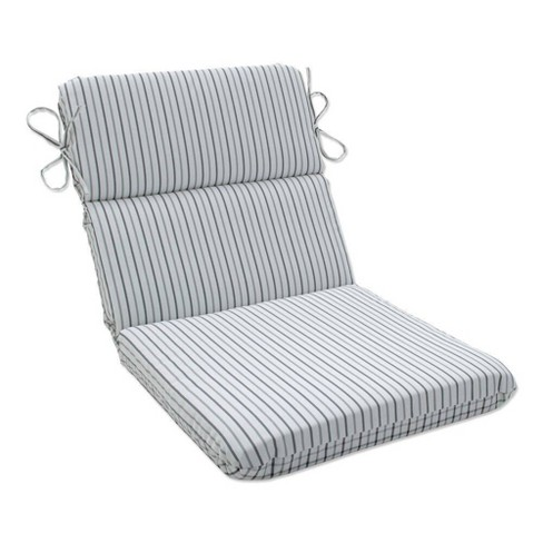 Outdoor/Indoor Rounded Chair Pad Austin Pewter/Nash Pewter Gray - Pillow Perfect - image 1 of 1