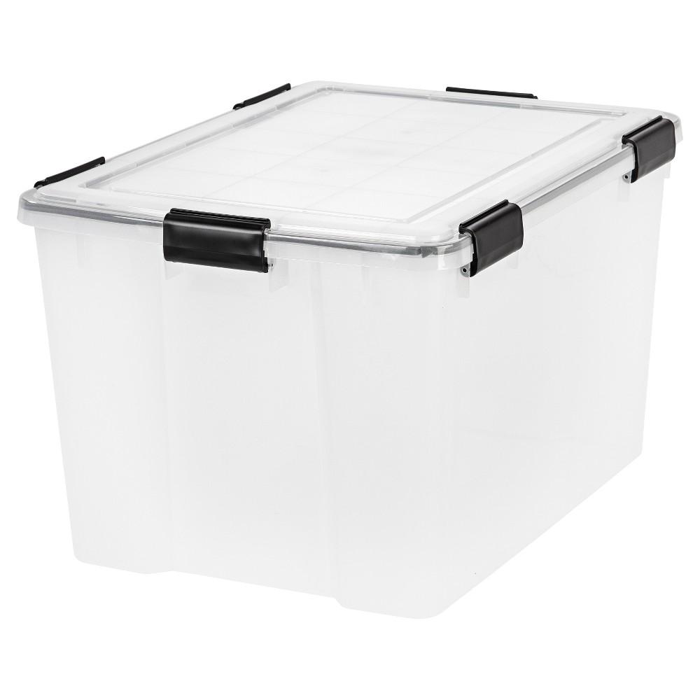 Iris 74qt Weathertight Storage Bin Clear