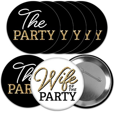 Big Dot of Happiness Wife of the Party - 3 inch Black and Gold Bachelorette Party Badge - Pinback Buttons - Set of 8