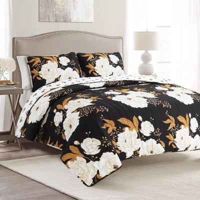 King 3pc Zinnia Floral Quilt Set Black/Gold - Lush Décor