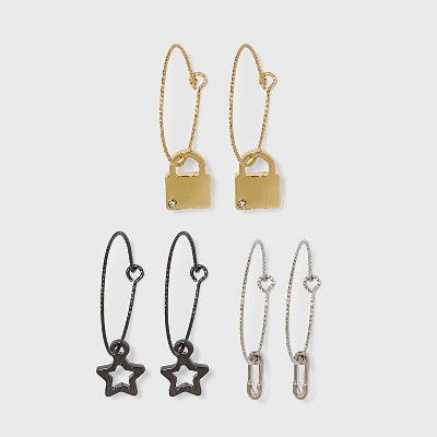 Star Safety Pin and Lock Hoop Earring Set 3pc - Wild Fable™