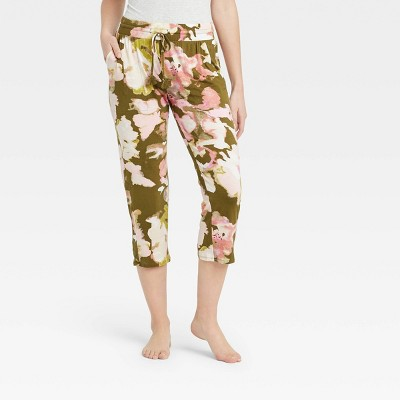 Women's Floral Print Beautifully Soft Cropped Pajama Pants - Stars Above™ Green
