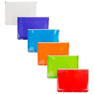 JAM Paper 6pk Plastic 3 Hole Punch Binder Envelopes with Zip Closure - Letter Booklet - 9 3/4 x 13 - Assorted