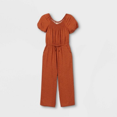 Girls' Short Sleeve Woven Jumpsuit - Cat & Jack™ Dark Orange