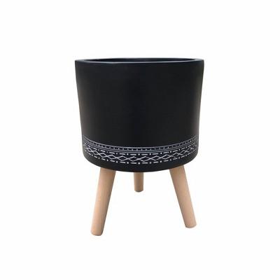 "19.5"" Classic Cylindrical Lightweight Concrete Outdoor Planter with 3 Wooden Legs - Rosemead Home & Garden, Inc."