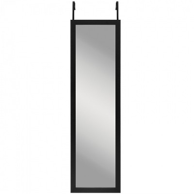 "Americanflat Over The Door Full Length Floating Mirror in Black Durable Shatterproof Glass with Plastic Frame - 12"" x 48"""