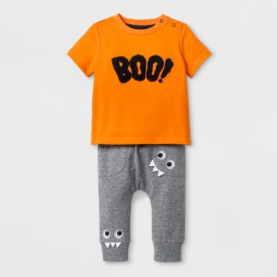 Baby Boys' Boo! Short Sleeve T-Shirt and Jogger Set - Cat & Jack™ Orange/Gray 6-9M