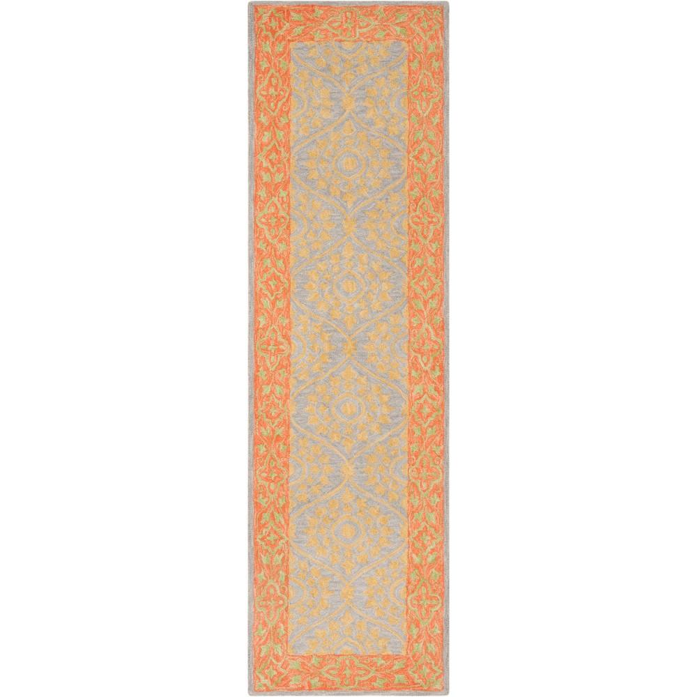 2'2X8' Leaf Hooked Runner Orange/Silver - Safavieh