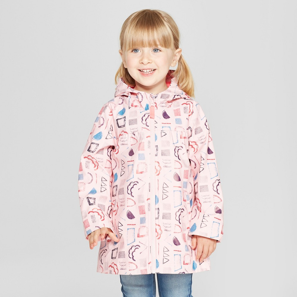 Toddler Girls' Geometric Rain Jacket - Cat & Jack Pink 6X