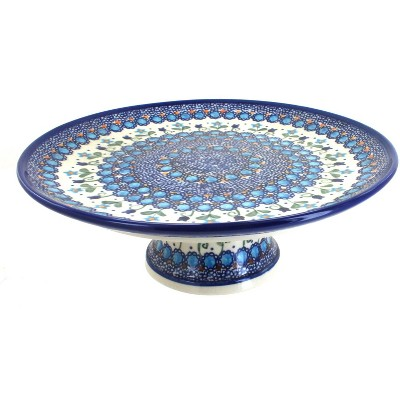 Blue Rose Polish Pottery Savannah Cake Plate