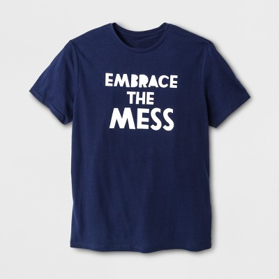 Men's Short Sleeve Embrace the Mess Graphic T-Shirt - Navy L